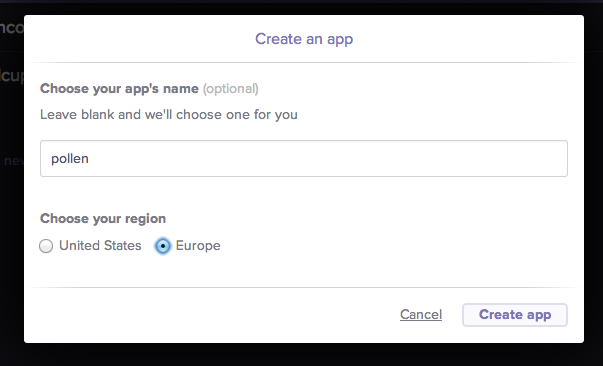 Create an app in the Heroku website
