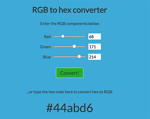 RGB to hex colour converter